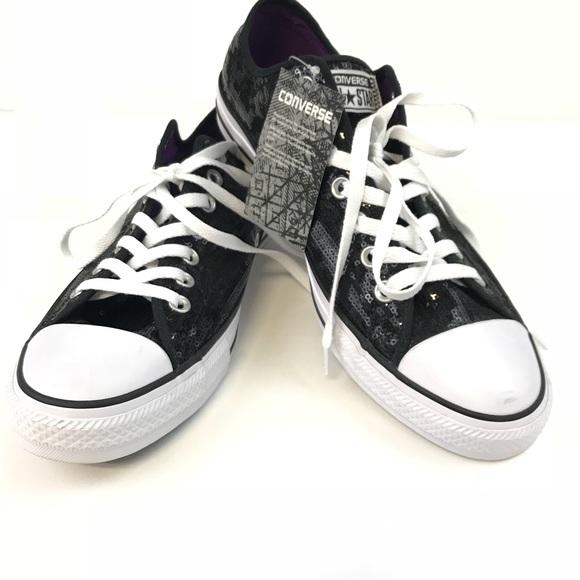 c05a11fcb2f602 NWT Converse All Star Sneakers Black Sequin 12